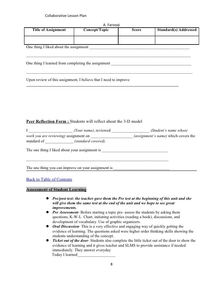 Collaborative Teaching Observation Form : Collaborative lesson plan farooqi