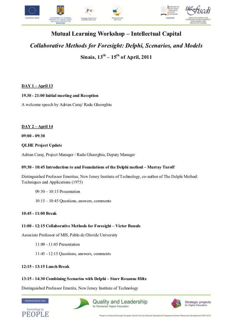 Mutual Learning Workshop – Intellectual Capital    Collaborative Methods for Foresight: Delphi, Scenarios, and Models     ...