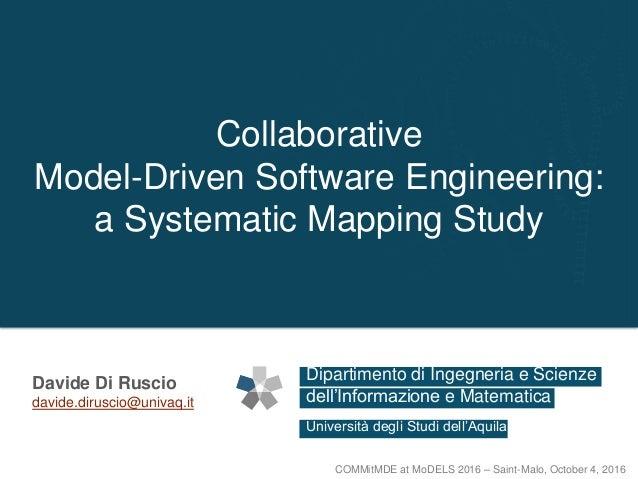 Dipartimento di Ingegneria e Scienze Università degli Studi dell'Aquila dell'Informazione e Matematica Collaborative Model...