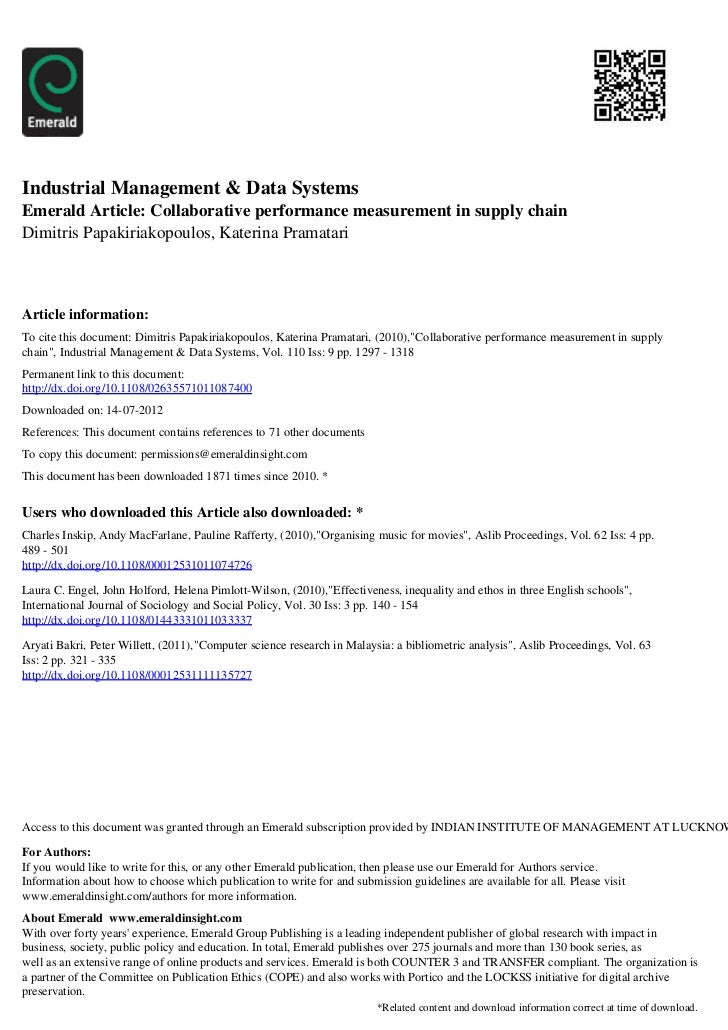 Industrial Management & Data SystemsEmerald Article: Collaborative performance measurement in supply chainDimitris Papakir...