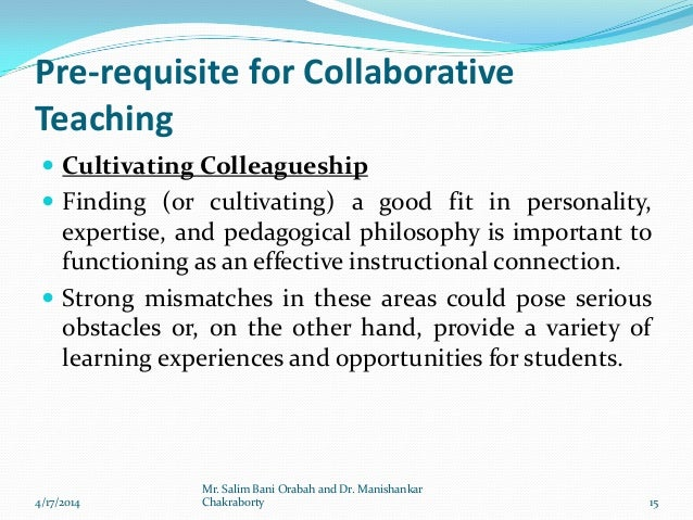 Collaborative Teaching Questionnaire : Collaborative teaching by dr manishankar chakraborty and