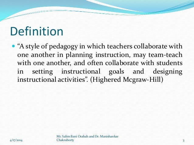 Collaborative Teaching Definition ~ Collaborative teaching by dr manishankar chakraborty and