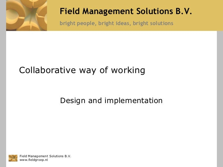 Field Management Solutions B.V.                        bright people, bright ideas, bright solutionsCollaborative way of w...