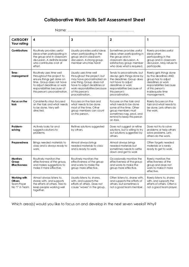 Collaborative Work Skills Self Assessment Sheet