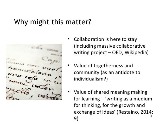 the value of collaboration essay Read more on the value of teamwork in the workplace to get some idea of the value of collaboration in the workplace, consider a team sport.
