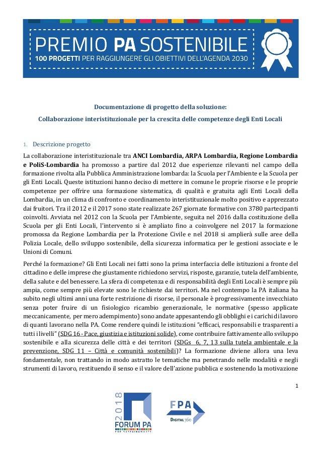 1 Documentazione di progetto della soluzione: Collaborazione interistituzionale per la crescita delle competenze degli Ent...