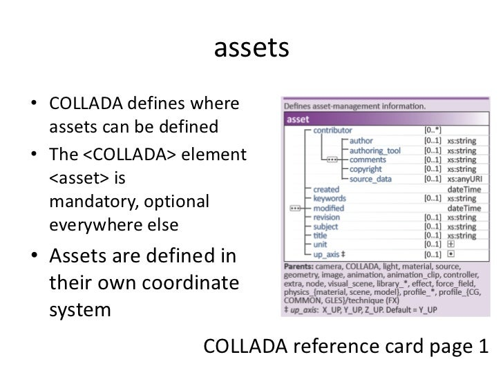 assets<br />COLLADA defines where assets can be defined<br />The <COLLADA> element <asset> is mandatory, optional everywhe...