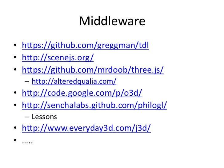 Middleware<br />https://github.com/greggman/tdl<br />http://scenejs.org/<br />https://github.com/mrdoob/three.js/<br />htt...