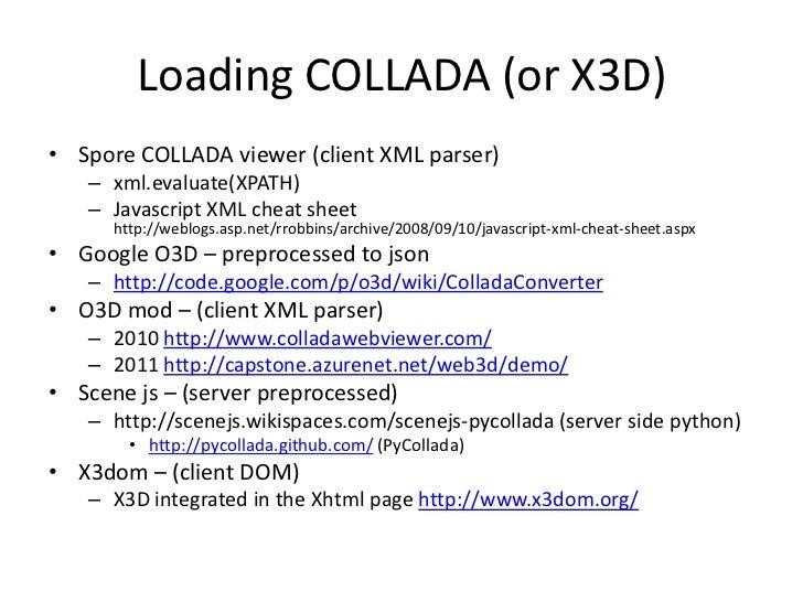Loading COLLADA (or X3D)<br />Spore COLLADA viewer (client XML parser)<br />xml.evaluate(XPATH)<br />Javascript XML cheat ...