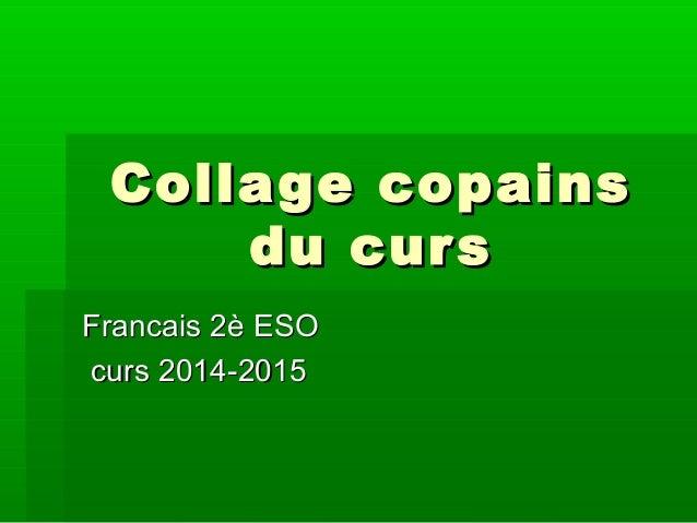 Collage copainsCollage copains du cursdu curs Francais 2è ESOFrancais 2è ESO curs 2014-2015curs 2014-2015