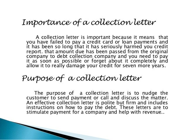 Collec letter – Collection Letter