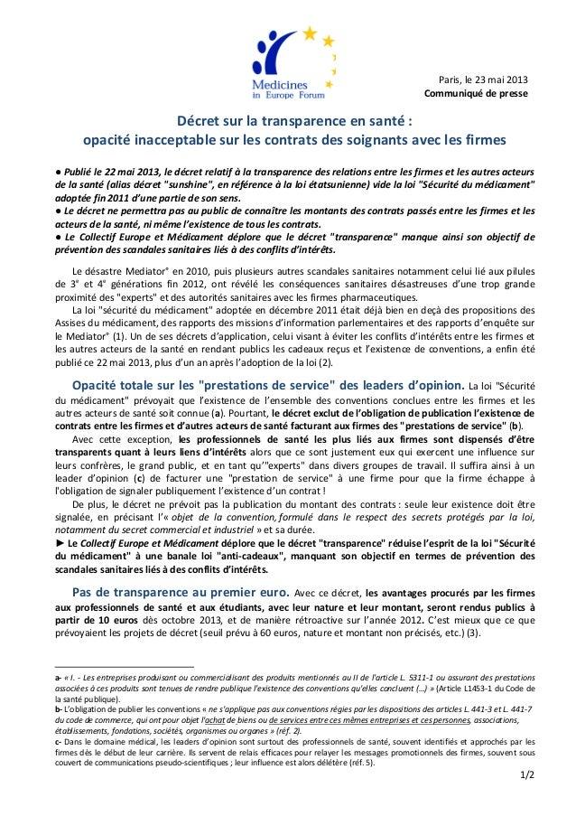 1/2       Décret sur la transparence en santé :  opacité inacceptable sur les contra...