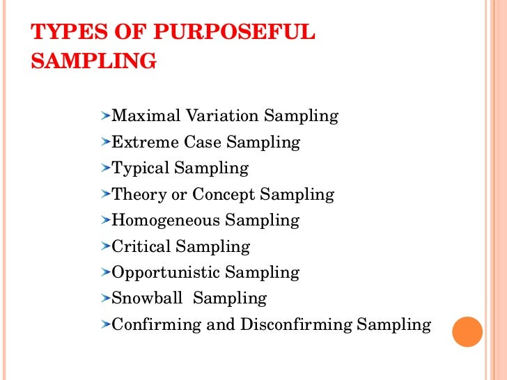 purposeful sampling in qualitative research Purposeful sampling is the most common sampling strategy in this type of sampling, participants are selected or sought after based on pre-selected criteria based on the research question for example, the study may be attempting to collect data from lymphoma patients in a particular city or county.