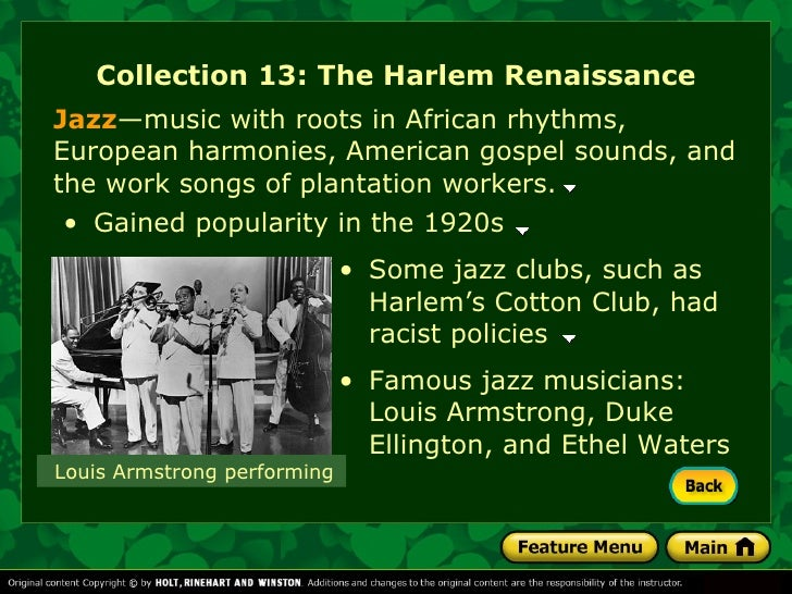 essay on the harlem renaissance Join now to read essay the harlem renaissance the harlem renaissance in the 1920s and early 1930s, there was an african american cultural movement that took place in the neighborhood of harlem, new york it is variously known as the harlem renaissance, the black literary renaissance, or the new negro movement.