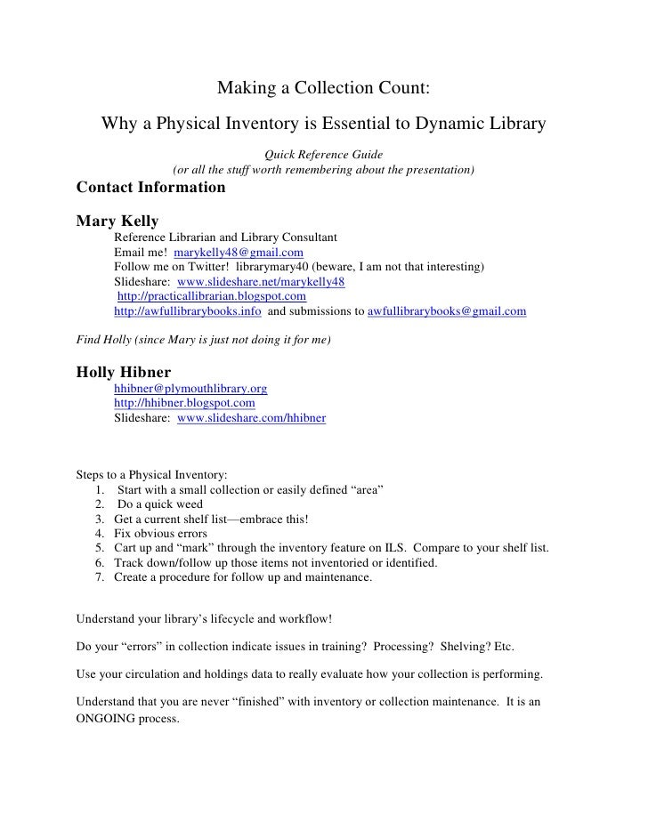 Making a Collection Count:<br />Why a Physical Inventory is Essential to Dynamic Library<br />Quick Reference Guide<br />(...