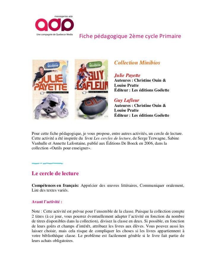 Fiche pédagogique 2ème cycle Primaire                                                  Collection Minibios                ...