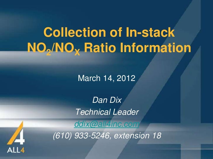 Collection of In-stackNO2/NOX Ratio Information         March 14, 2012             Dan Dix         Technical Leader       ...