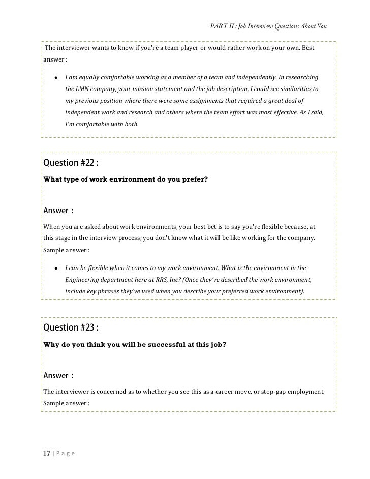 Sample Answer : |Page; 17. As My Resume ...  Resume Interview Questions