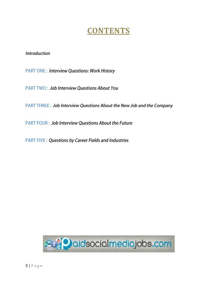 CONTENTS|Page; 5. PART ONE Interview Questions: ...