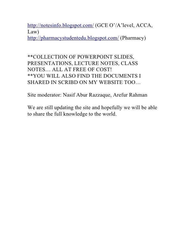 http://notesinfo.blogspot.com/ (GCE O'/A'level, ACCA, Law) http://pharmacystudentedu.blogspot.com/ (Pharmacy)   **COLLECTI...