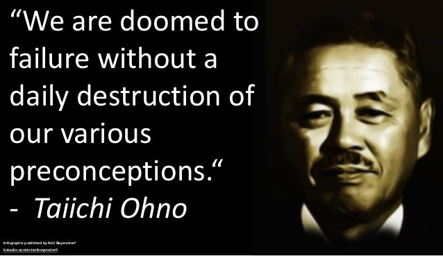 """""""We are doomed to failure without a daily destruction of our various preconceptions."""" - Taiichi Ohno Infographic published..."""