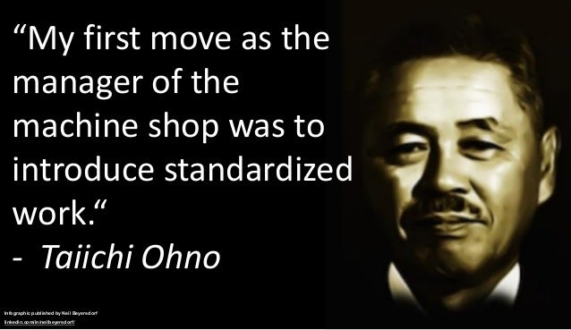 """""""My first move as the manager of the machine shop was to introduce standardized work."""" - Taiichi Ohno Infographic publishe..."""