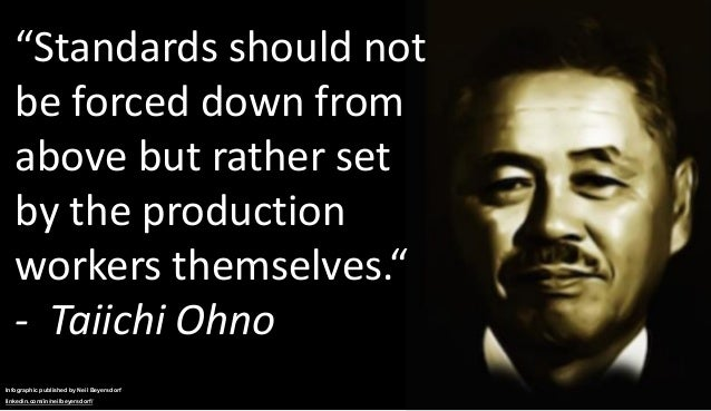 """""""Standards should not be forced down from above but rather set by the production workers themselves."""" - Taiichi Ohno Infog..."""
