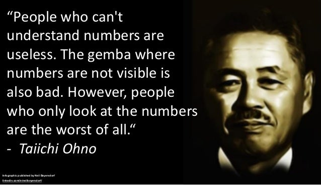 """""""People who can't understand numbers are useless. The gemba where numbers are not visible is also bad. However, people who..."""