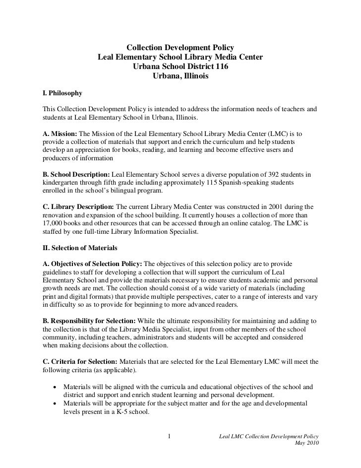 Collection Development Policy                    Leal Elementary School Library Media Center                             U...