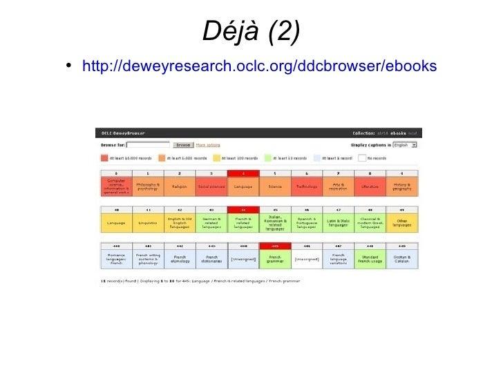 Déjà (2) <ul><li>http://deweyresearch.oclc.org/ddcbrowser/ebooks   </li></ul>