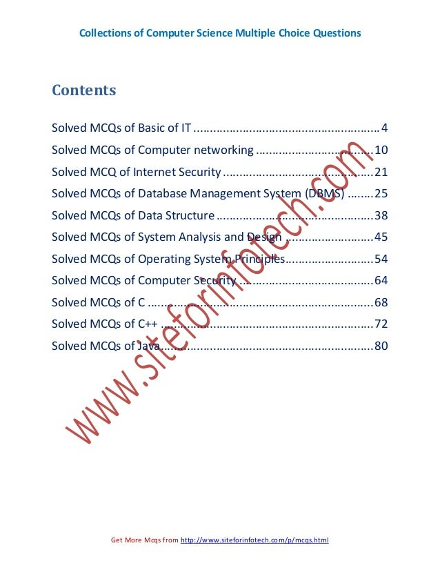 Collections of CS Multiple Choice Questions Slide 3