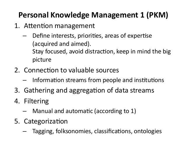 Personal  Knowledge  Management  1  (PKM)   1. A?en&on  management   – Define  interests,  priori&es, ...