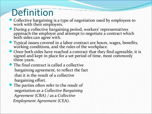 a description of the process of labor management bargaining A review of labor contracts will impact the bargaining process this year assignment of duties and content of job descriptions.