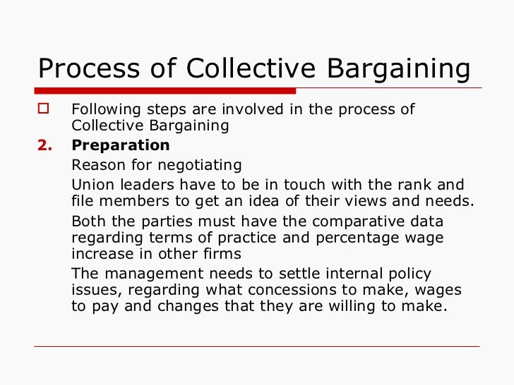 Process of Collective Bargaining <ul><li>Following steps are involved in the process of Collective Bargaining </li></ul><u...