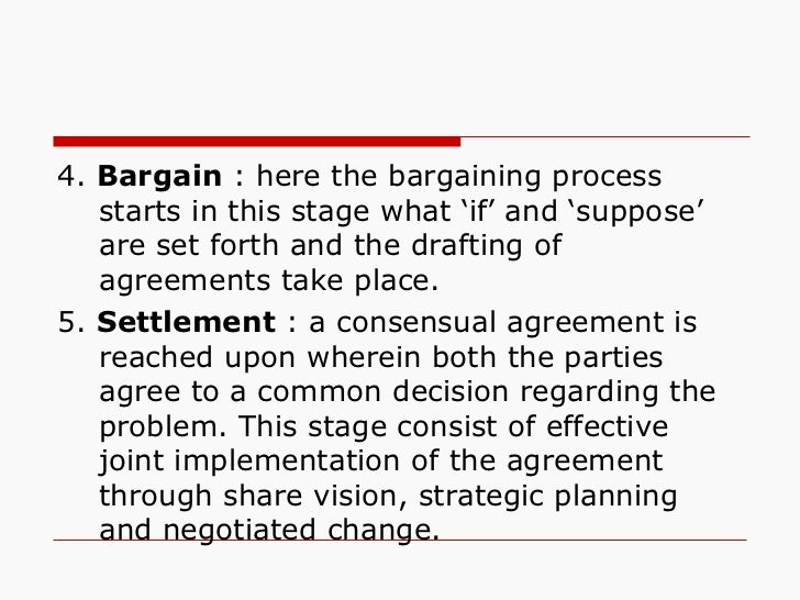 <ul><li>4.  Bargain  : here the bargaining process starts in this stage what 'if' and 'suppose' are set forth and the draf...