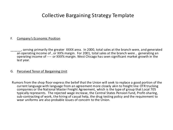 Awesome Collective Bargaining Strategy TemplateF.