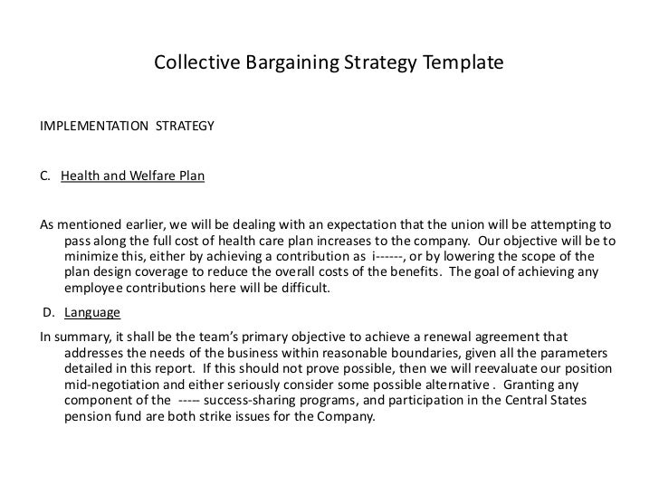 Collective bargaining strategy template – Sample Collective Bargaining Agreement