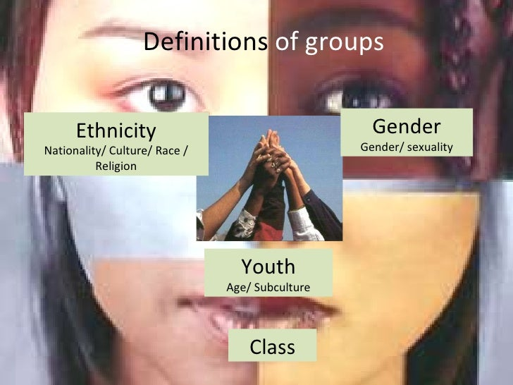 Definitions  of groups Youth Age/ Subculture Gender Gender/ sexuality Ethnicity Nationality/ Culture/ Race / Religion Class