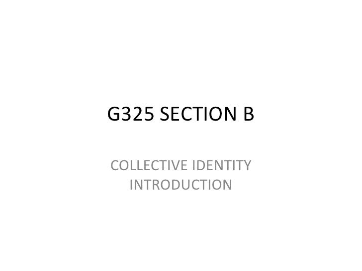 G325 SECTION BCOLLECTIVE IDENTITY  INTRODUCTION