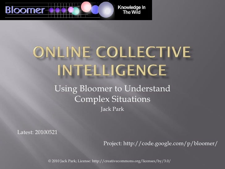 Using Bloomer to Understand                    Complex Situations                                           Jack Park    L...