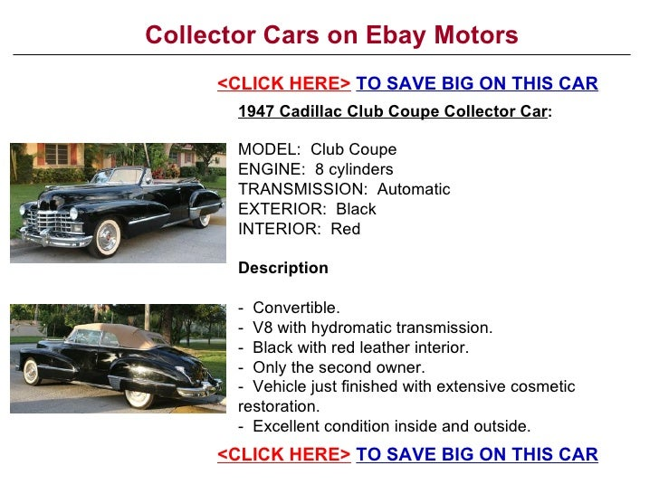 Collector Cars On Ebay Motors