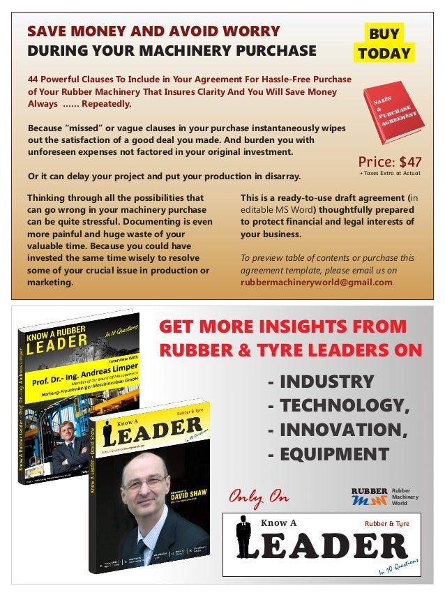 Email: rubbermachineryworld@gmail.com ©2015 – ePublished by Rubber Machinery World in DEC 2015 Content For Free eDistribut...