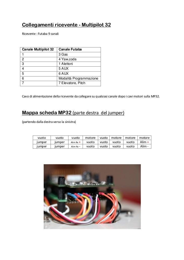 Collegamenti ricevente - Multipilot 32Ricevente : Futaba 9 canaliCanale Multipilot 32       Canale Futaba1                ...