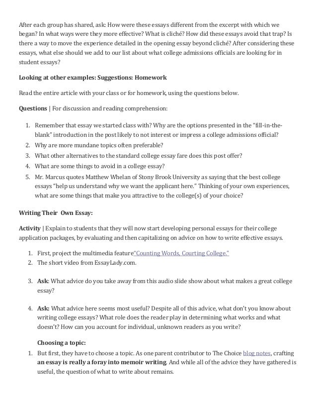 college essay lesson plan