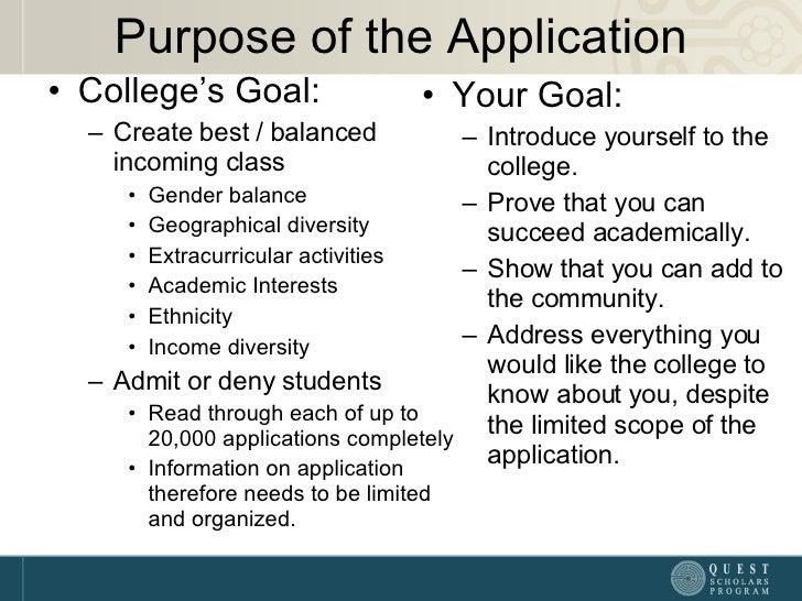 Purpose of the Application <ul><li>College's Goal: </li></ul><ul><ul><li>Create best / balanced incoming class </li></ul><...