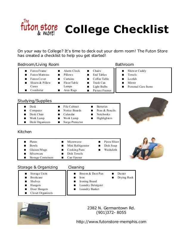 2015 college student living checklist dorm or apartments
