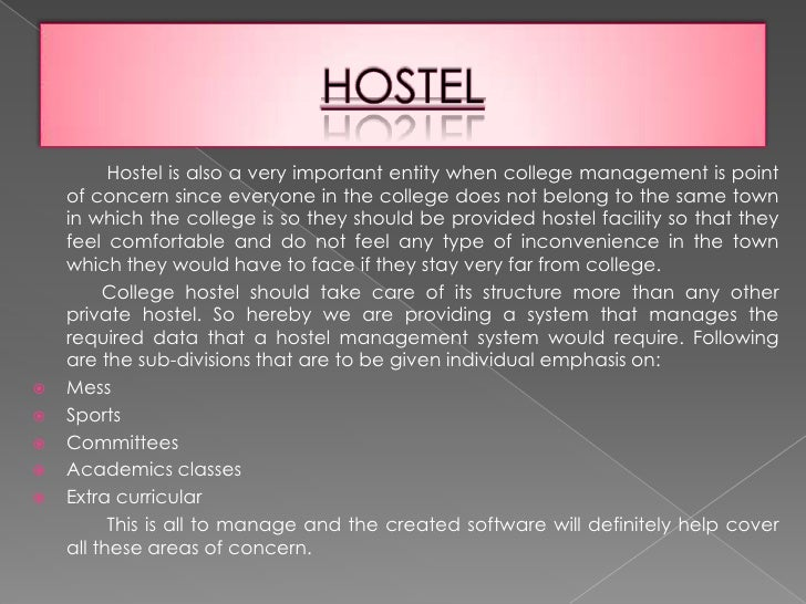 hostel management system project abstract