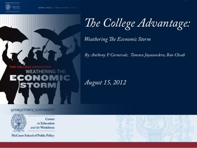 The College Advantage: Weathering The Economic Storm By: Anthony P. Carnevale, Tamara Jayasundera, Ban Cheah August 15, 20...