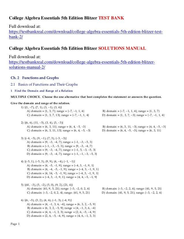 College algebra essentials 5th edition blitzer test bank