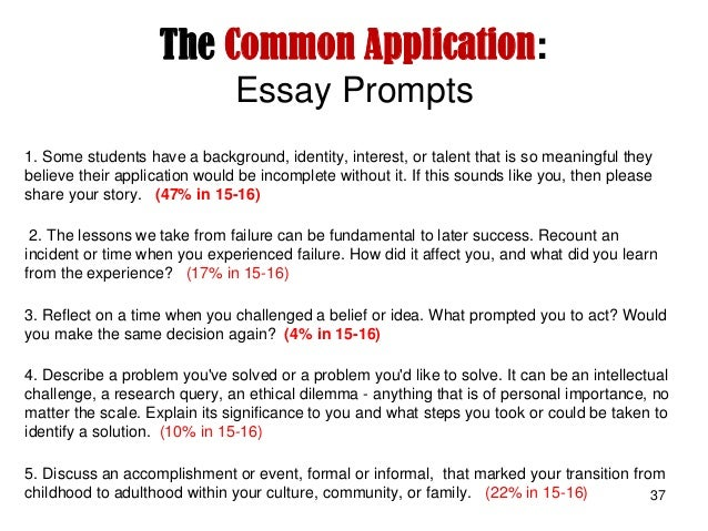 common app essay prompts 15-16 College & career the common app essay prompts & tips created 26 february 2014 wwwcommonapporg the common application 2014-15 essay prompts after a positive response from common application member colleges and school counselors, the common.